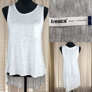 Tresics light gray tank. High low uneven h…